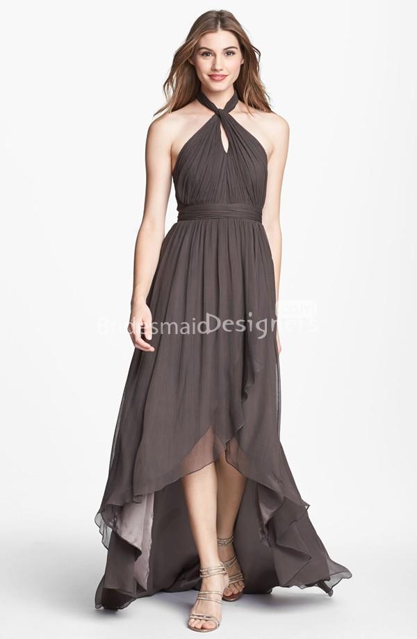 High Low Halter Sleeveless Dark Grey Chiffon Bridesmaid Dress