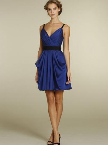 Mariage - Royal Blue Chiffon Short A-line Casual Bridesmaid Dress with Black Ribbon