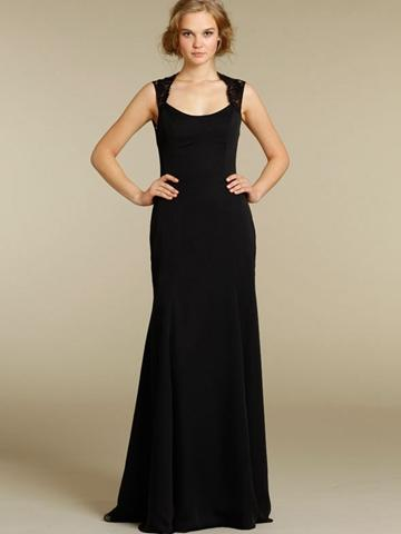 Black Chiffon Floor Length Bridesmaid Dress With Scoop Neckline Lace Shoulder Straps