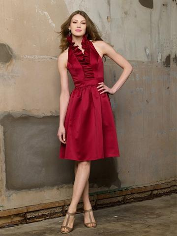 Hochzeit - Cranberry Satin Ruffle Halter Knee Length Bridesmaid Dress with Shirred Skirt and Pockets