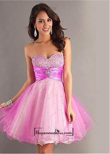 Свадьба - Amazing Sweet Tulle & Stretch Satin A-line Sweetheart Neckline Empire Waistline Homecoming Dress