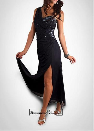 Свадьба - Attractive Beaded Chiffon One Shoulder Neckline Slit Formal Gown In Fashion