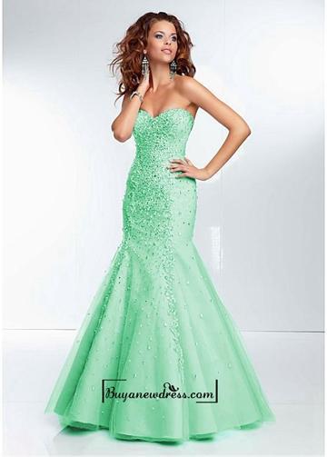 Wedding - Alluring Tulle Sweetheart Neckline Floor-length Mermaid Prom Dress