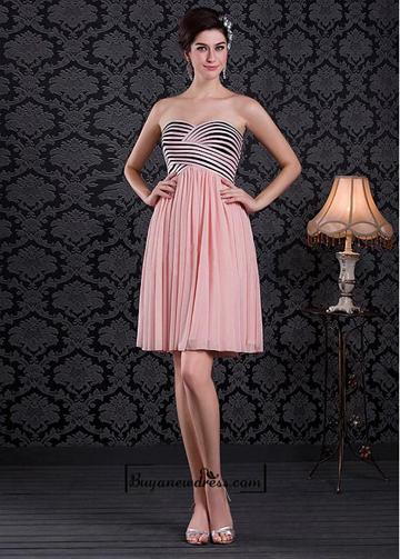 Wedding - Alluring Tulle&Stretch Satin A-line Sweetheart Neckline Knee-length Pleated Cocktail Dress