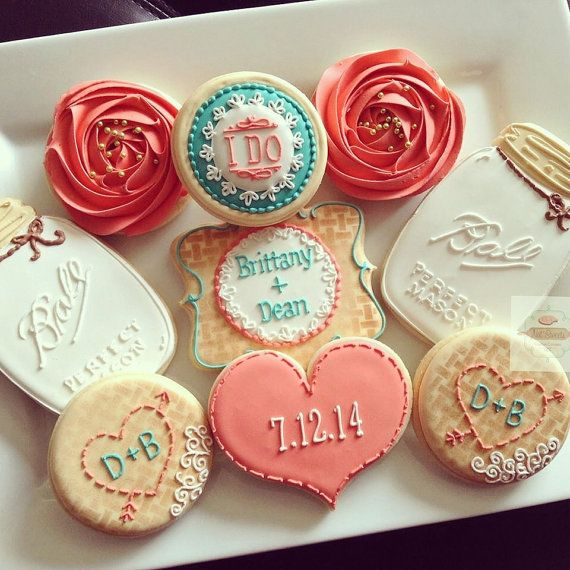 2 Dozen Vintage Country Chic Bridal Shower Cookies In Coral And Teal Burlap Mason Jar Floral