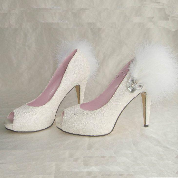 Hochzeit - White Lace Feather High Heels For Wedding Or Party