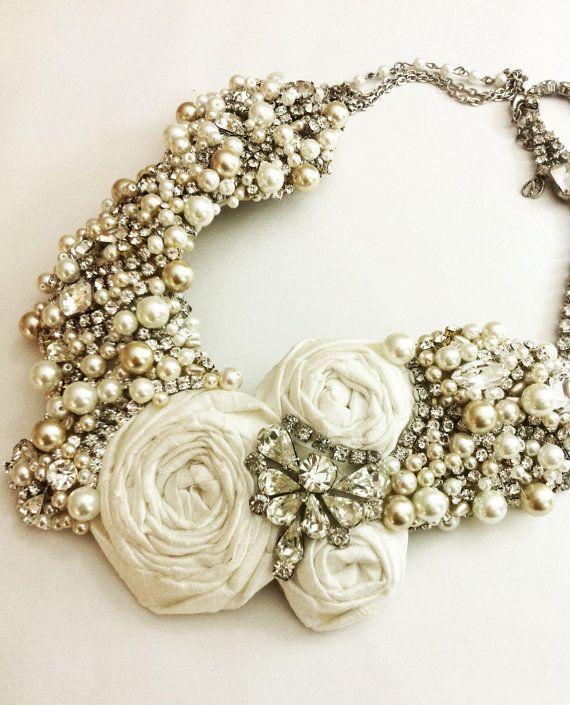Mariage - Bridal Statement Necklace- Vintage Rhinestone And Pearls- OOAK- Vintage Glamour