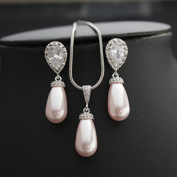 Wedding - Pink Pearl Jewelry Set Cubic Zirconia Bridal Jewelry Set Silver Rose Pink Swarovski Pearl Tear Drops Bridesmaid Jewelry Wedding Jewelry