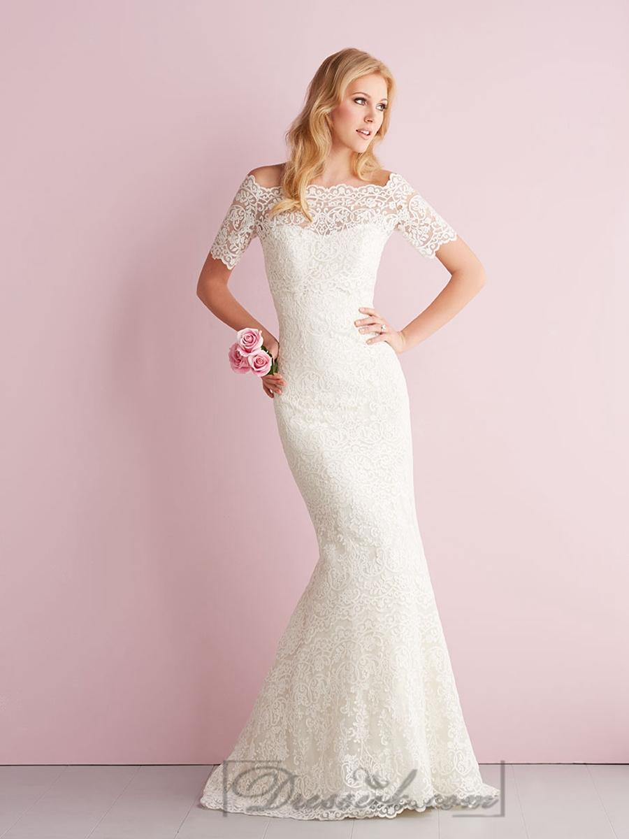 Wedding - Elegant Off-the-shoulder Short Sleeves Mermaid Lace Wedding Dresses