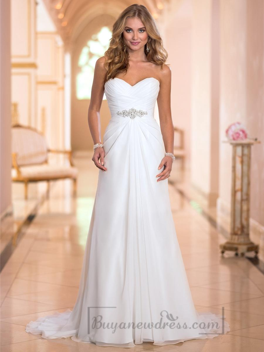 Wedding - Sweetheart Criss-cross Ruched Bodice Simple Wedding Dresses
