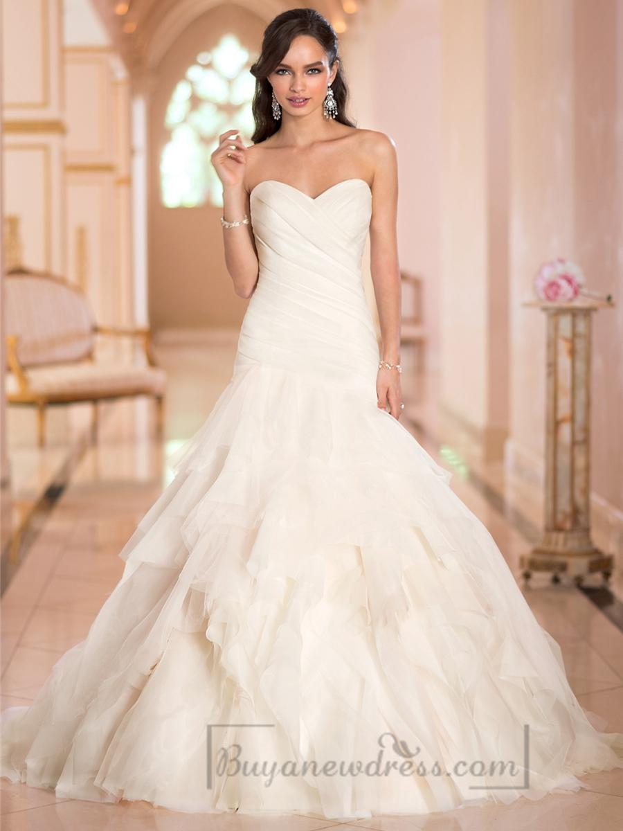 Mariage - Sweetheart Ruched Bodice Pleated Wedding Dresses with Corset Back