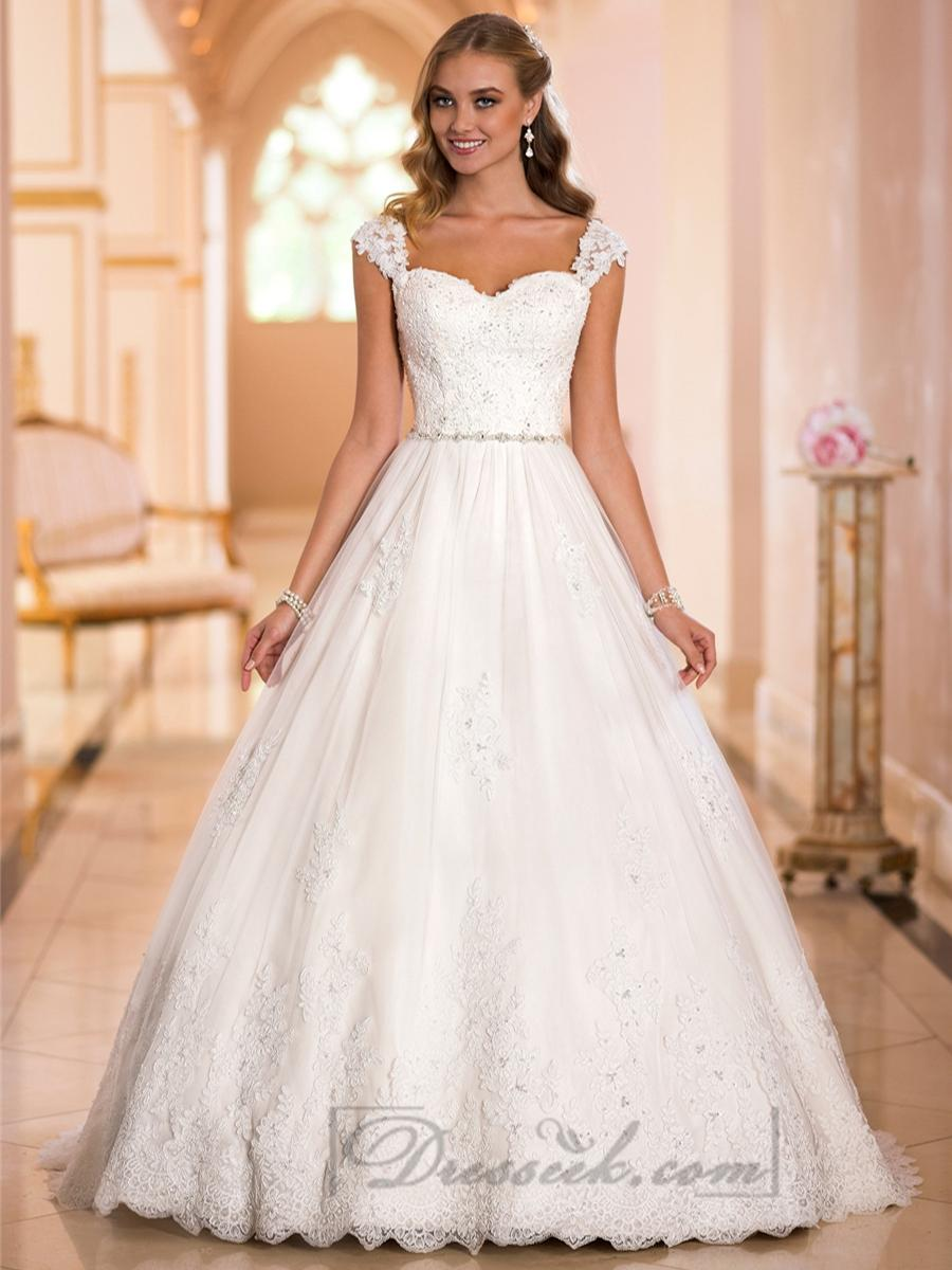 Straps Sweetheart Lace Princess Ball Gown Wedding Dresses #2193213 ...