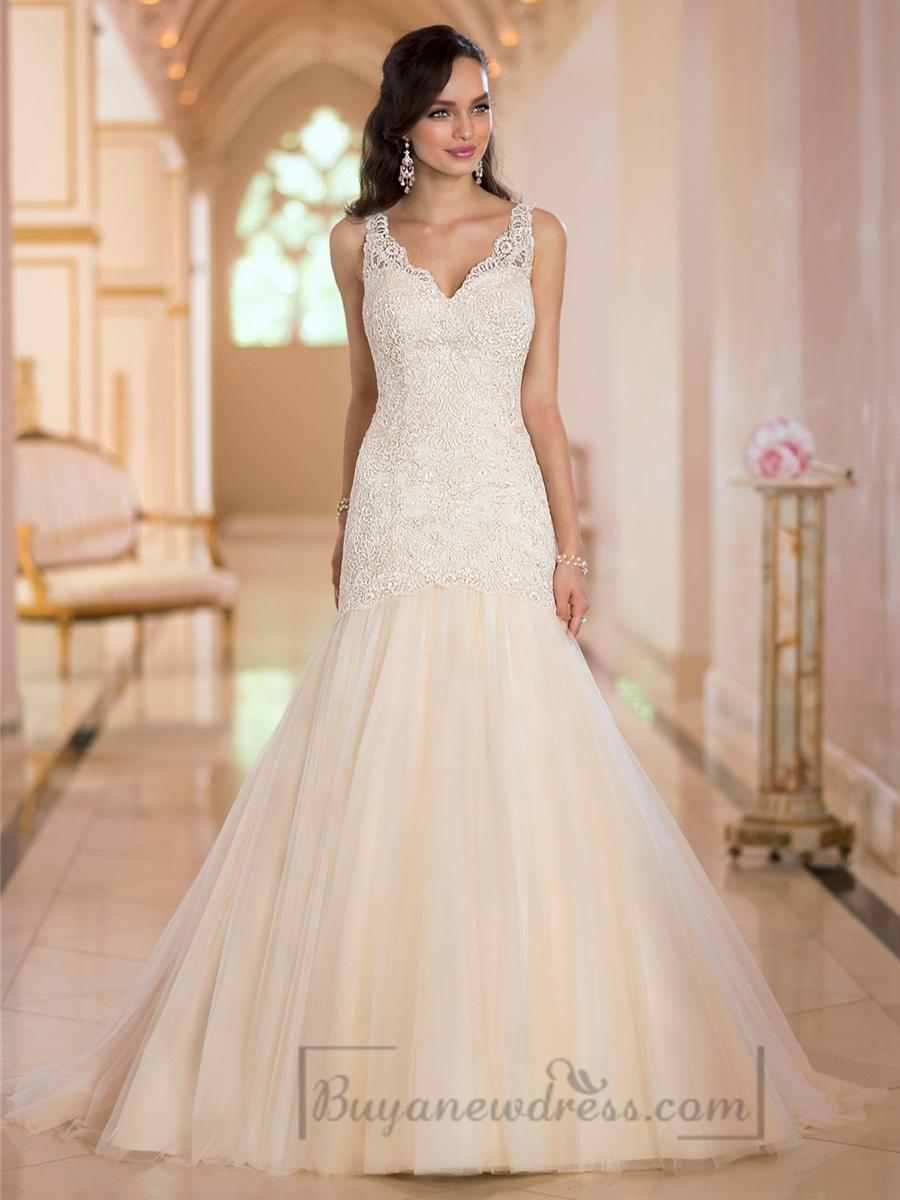 Glamorous straps lace mermaid v neck wedding dresses with for Lace wedding dress with straps