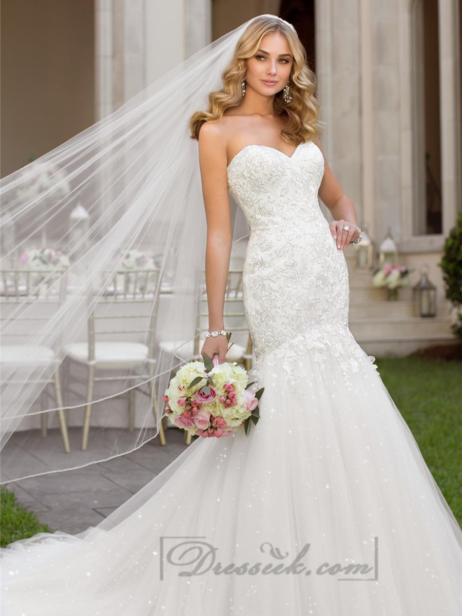 Fit And Flare Sweetheart Lace Appliques Crystal Beaded Wedding ...