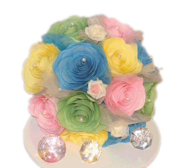 Pastel Bouquet Yellow Pink And Blue Bridal Wedding Green Paper Bouquets Fake Flower