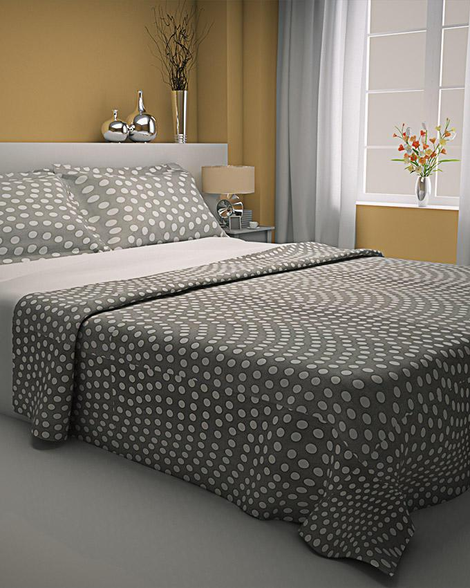 Zapprix Grey White Pattern Polka Dots Bed Sheets With Two Pillow Covers