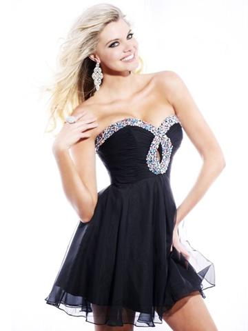f0d1ced0546 Short Strapless Sweetheart Beaded Keyhole Ruched Bodice Prom Dress ...