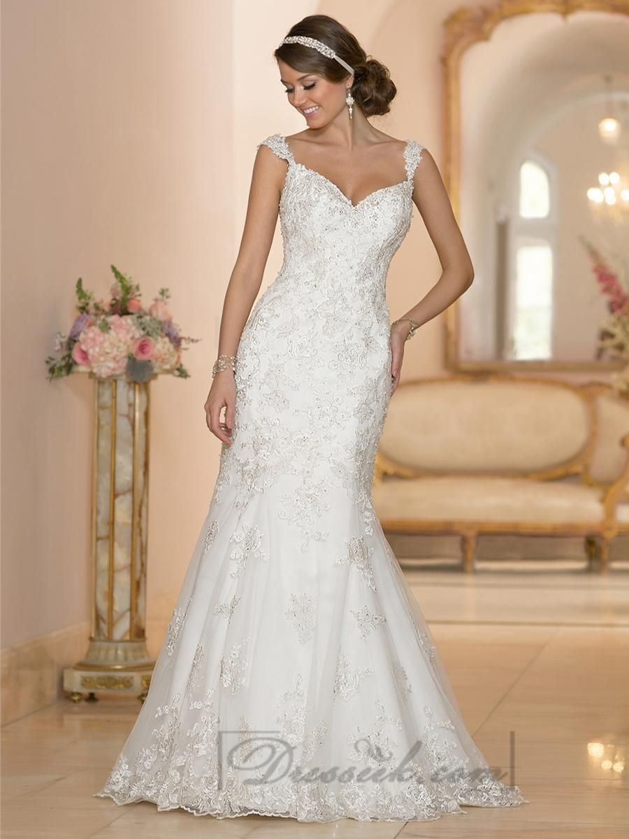 Wedding - Fit and Flare Sweetheart Lace Appliques Wedding Dresses with Deep V-back