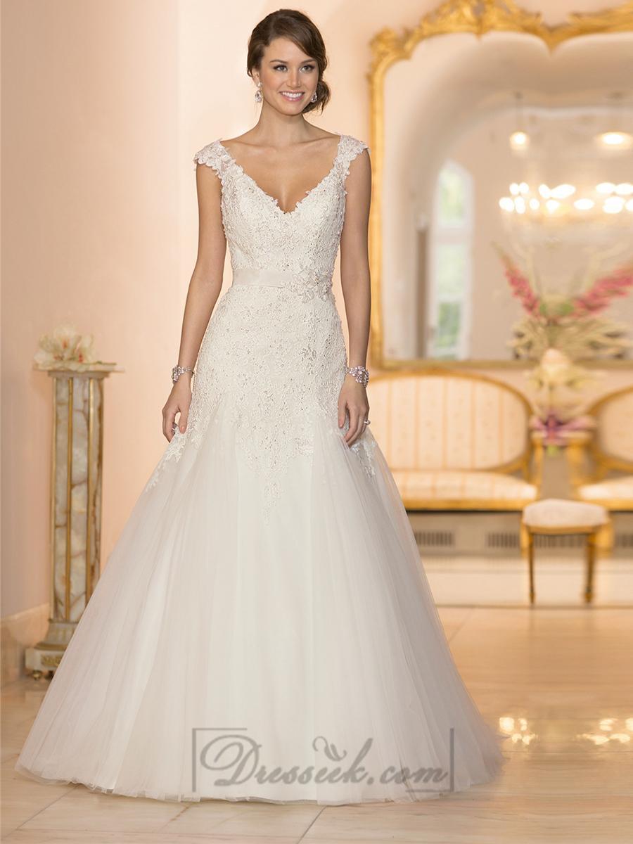 Boda - Cap Sleeves V-neck A-line Lace Beaded Deep V-back Wedding Dresses