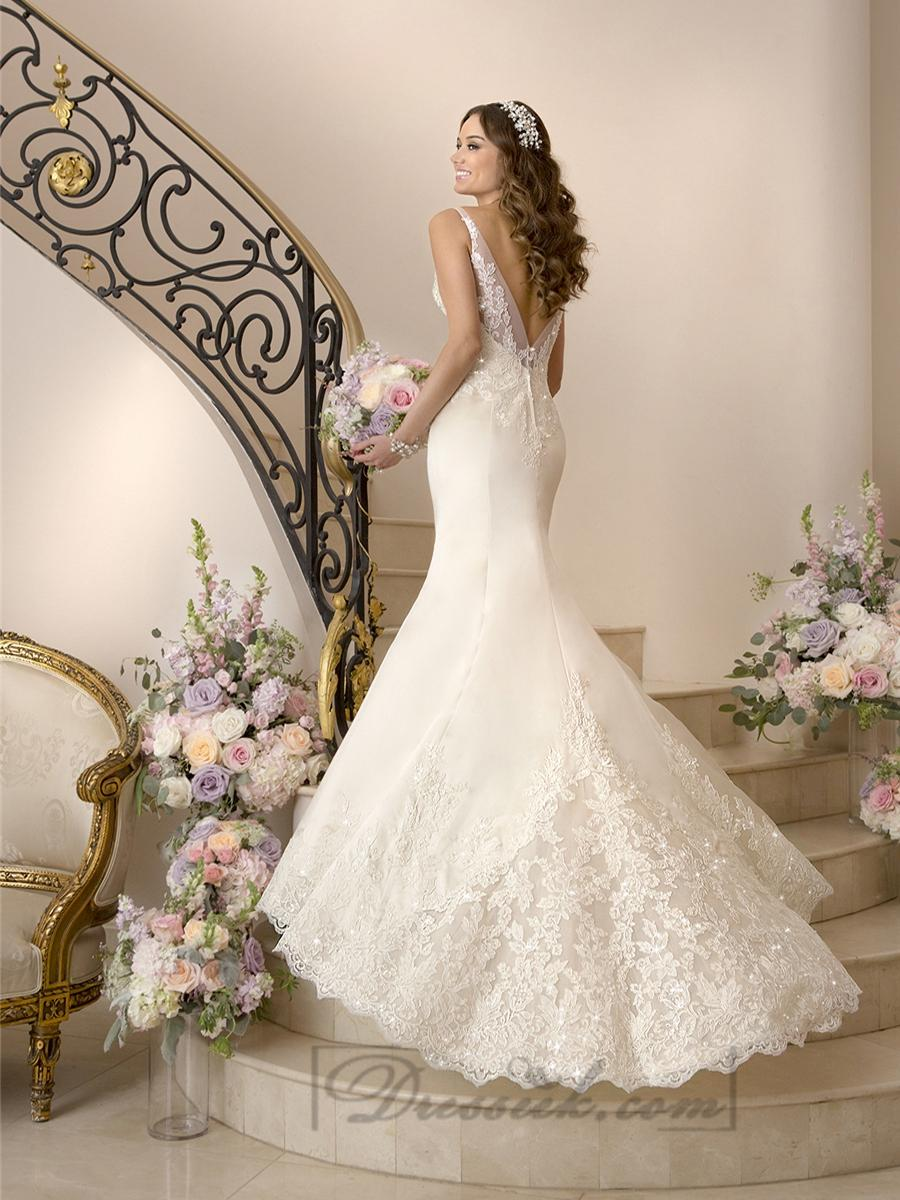 زفاف - Elegant Fit and Flare Illusion Straps Wedding Dresses with Deep V-back