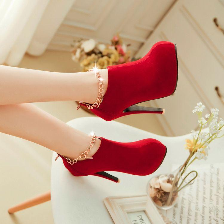 Wedding - Fashion Round Toe Stiletto High Heel Zipper Ankle Chains Red PU Martens Boots - Women's Apparel Trendy