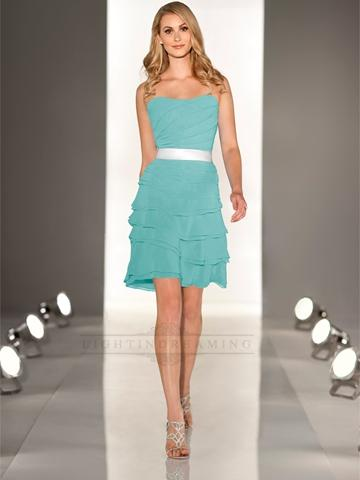 Wedding - Strapless A-line Cascading Ruffled Coctail Bridesmaid Dress with Layered Bodice