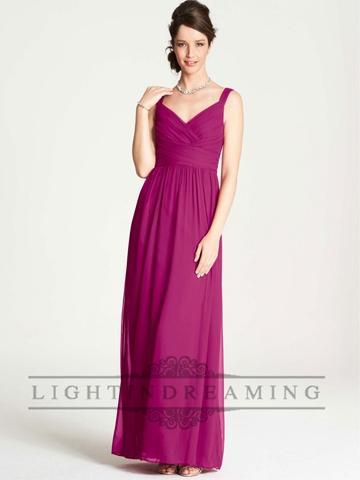 Wedding - Straps Simple Criss Crossed V-neck Shirred Floor Length Bridesmaid Dress