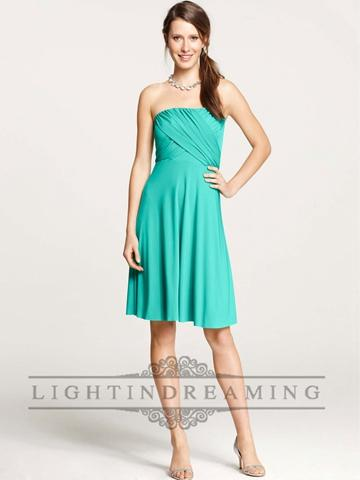Boda - Strapless Criss Crossed Shirred Knee Length Jersey Bridesmaid Dress