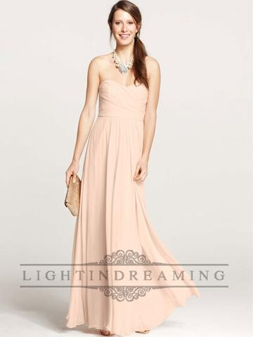 زفاف - Strapless Shirred Sweetheart Floor Length Bridesmaid Dress