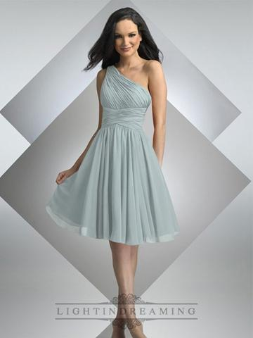 Hochzeit - One Shoulder Pleated Cross Waist Knee Length Bridesmaid Dress