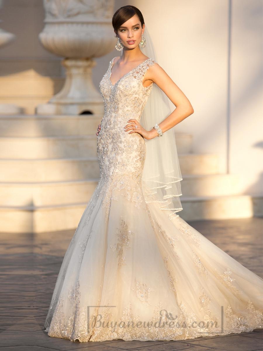 Elegant straps pluging v neck beaded lace wedding dresses for Deep v back wedding dress