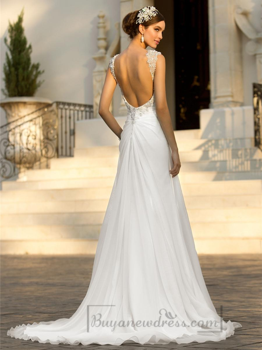 Beaded cap sleeves sweetheart a line simple wedding for Beaded low back wedding dress