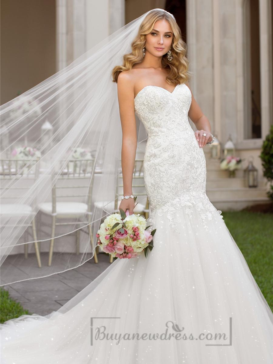 Fit And Flare Sweetheart Lace Appliques Crystal Beaded Wedding Dresses 2193668 Weddbook
