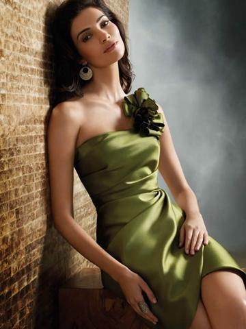 Wedding - Olive High Fashion One Shoulder Taffeta Knee Length Flower Bridesmaid Dress