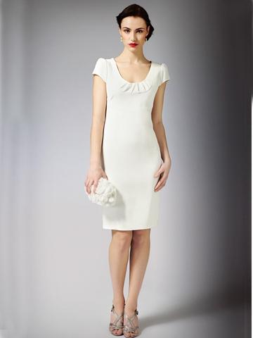 Свадьба - Satin Based Crepe Gorgeous Short Dress with Cap Sleeves