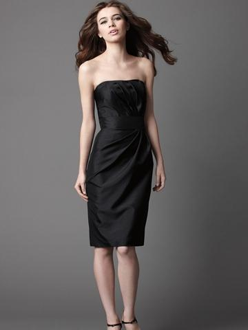 Black Shantung Strapless Knee Length Bridesmaid Dress With