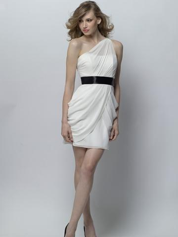 Свадьба - Candlelight Chiffon One Shoulder Short Bridesmaid Dress with Black Satin Ribbon