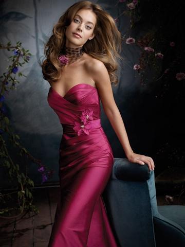 Wedding - Raspberry Silky Taffeta Floor Length Bridesmaid Dress with Asymmetrically Pleated Sweetheart Bodice