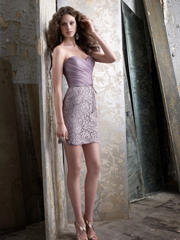 Hochzeit - Romantic Taupe Organza Sheath Short Spring Bridesmaid Dress
