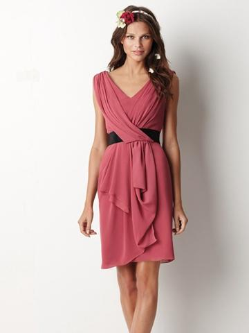 Wedding - Inspired Chiffon Pleated V-neck Knee Length Bridesmaid Dress with Black Satin Ribbon