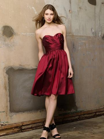 Wedding - Burgundy Taffeta A-line Knee Length Bridesmaid Dress with Shirred Skirt and Pockets