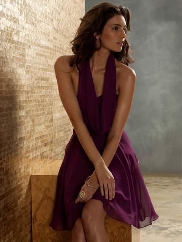 Boda - Violet Chiffon A-line Knee Length Fashion Bridesmaid Dress with Cowl Halter Neckline