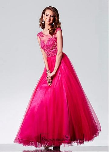 Свадьба - Alluring Tulle Jewel Neckline Floor-length A-line Evening Dress