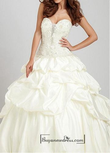 Hochzeit - Beautiful Lace & Satin Ball Gown Sweetheart Dropped Waistline Prom Dress