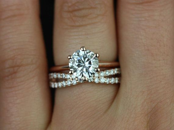 Hochzeit - Skinny Webster & Lima 14kt Rose Gold FB Moissanite Six-Prong Webbed Wedding Set (Other Metals And Stone Options Available)