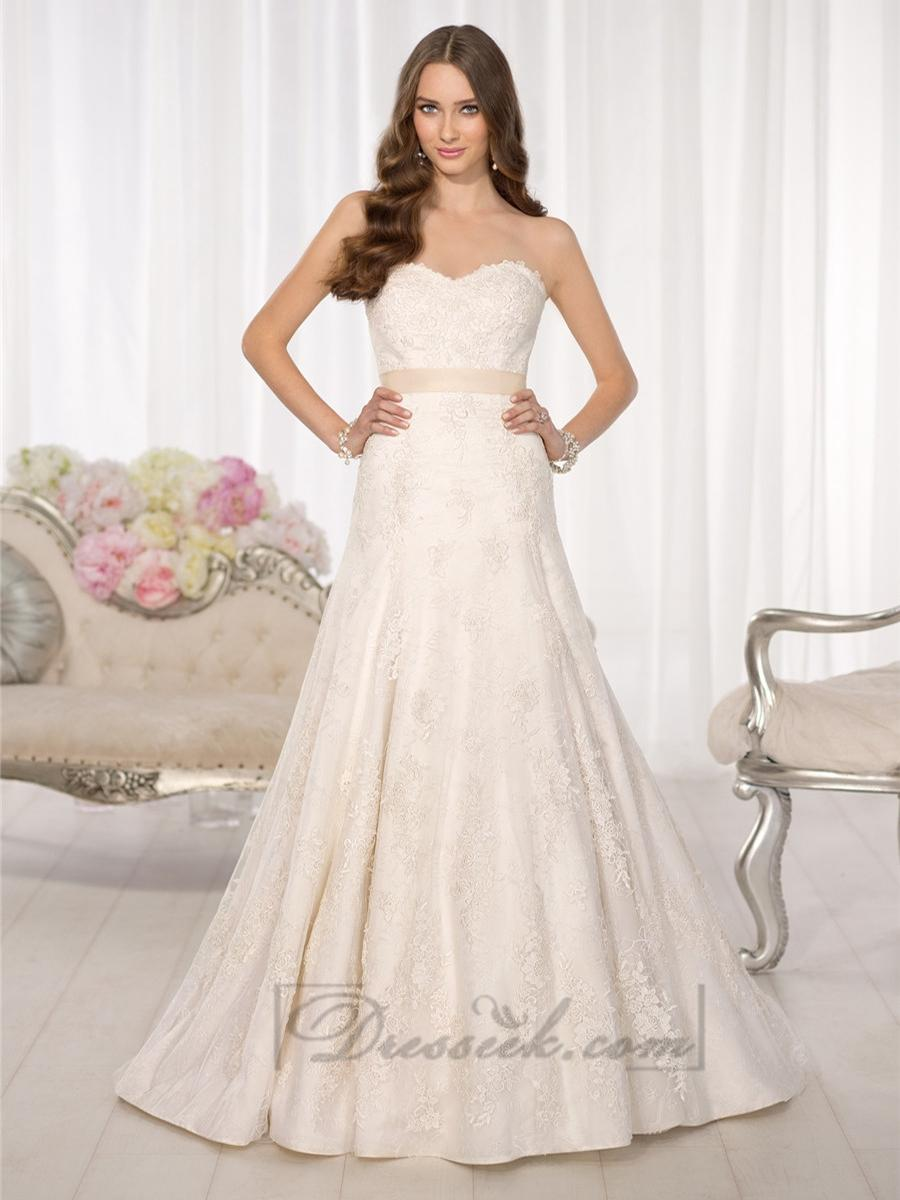 Strapless sweetheart a line simple lace wedding dresses for Sweetheart strapless a line wedding dress