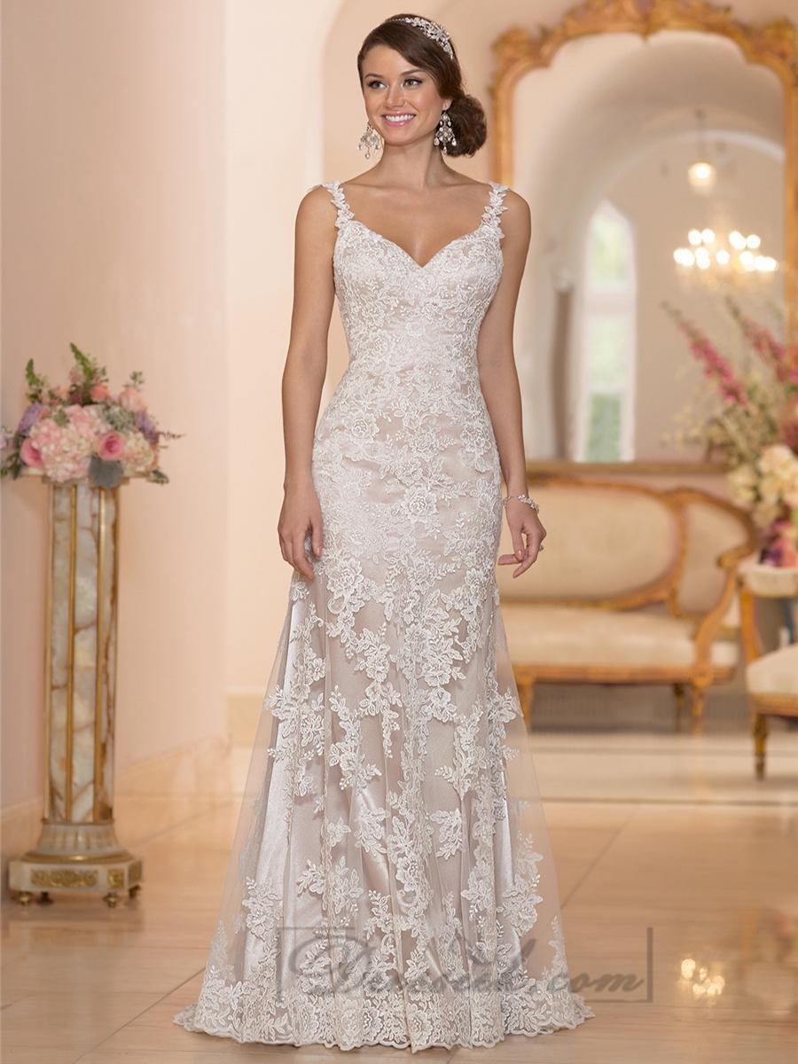 Wedding - Elegant Straps Sheath Lace Over Wedding Dress with Low Back