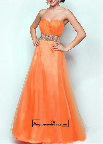 Wedding - Attractive Tulle & Satin A-line Strapless Sweetheart Neckline Natural Waist Floor Length Beaded Prom Dress