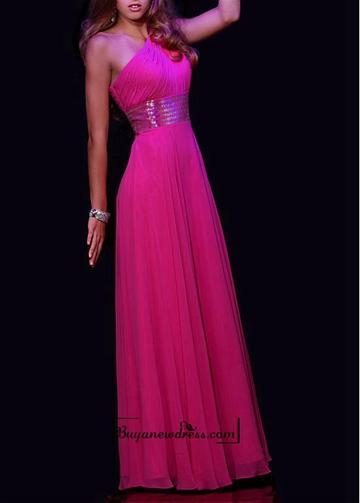 Свадьба - Beautiful Chiffon A-line One Shoulder Neckline Natural Waist Floor Length Sequin Prom Dress