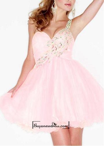 Düğün - Adorable Tulle & Satin A-line Beaded One Single Shoulder Strap Short Prom Dress